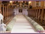 dekoracja nawy głównej, biały dywan, dekoracja z gipsówki, białe latarnie