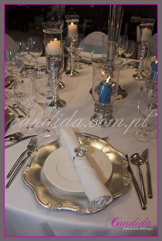 dekoracja stołu weselnego, świece