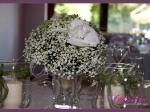 Dekoracja stołu Młodej Pary z gipsówki, hortensji, ornitogalum, goździków