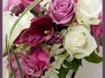 Wiązanka ślubna z cantedeskii, róż, veronica, storczyka dendrobium