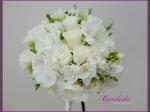 Wiązanka ślubna z róży, białej frezji, białej eustomy