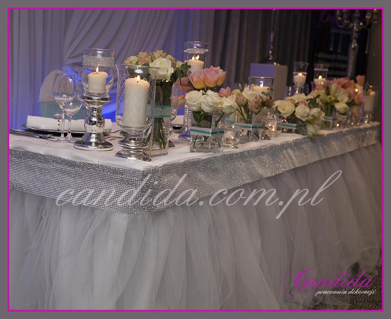dekoracja stołu Młodej Pary