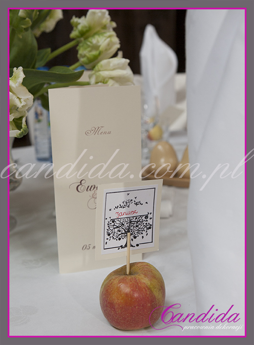 oryginalna winietka na podstawie z jabłka
