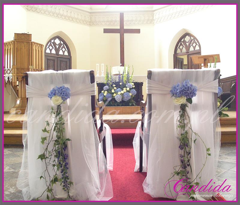 dekoracja ślubna kościoła, dekoracja krzeseł Młodej Pary