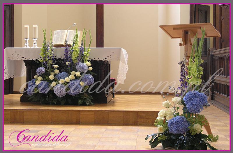 dekoracja ślubna kościoła, dekoracja ślubna ołtarza, dekoracja ślubna mównicy