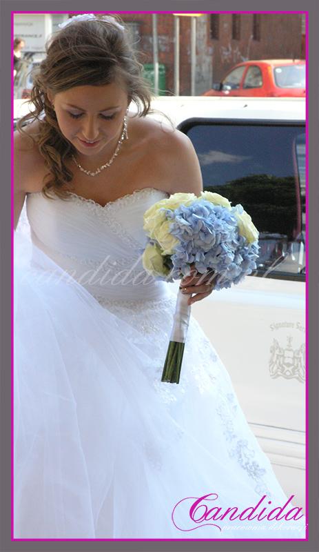wiązanka ślubna, bukiet ślubny, hortensje