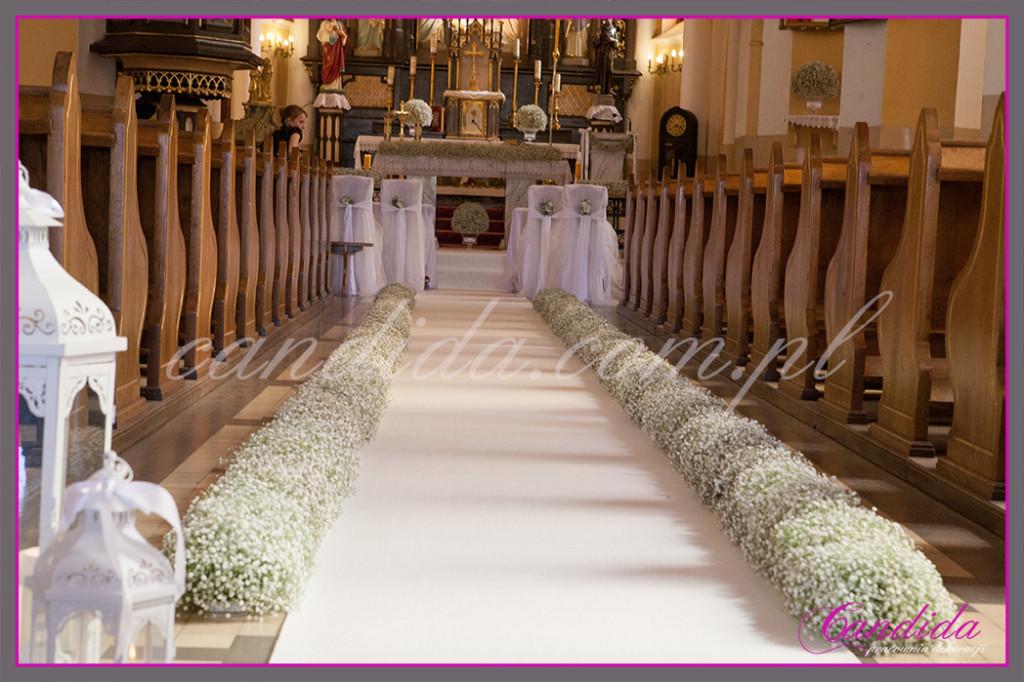 Młodzieńczy dekoracja kościoła na ślub - gipsówka, dekoracje z gipsówki ślubne JZ06