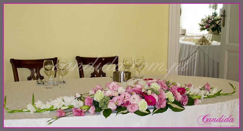 wesele w Dworze Radzin, dekoracje sali weselnej, dekoracja stołu Młodej Pary 2