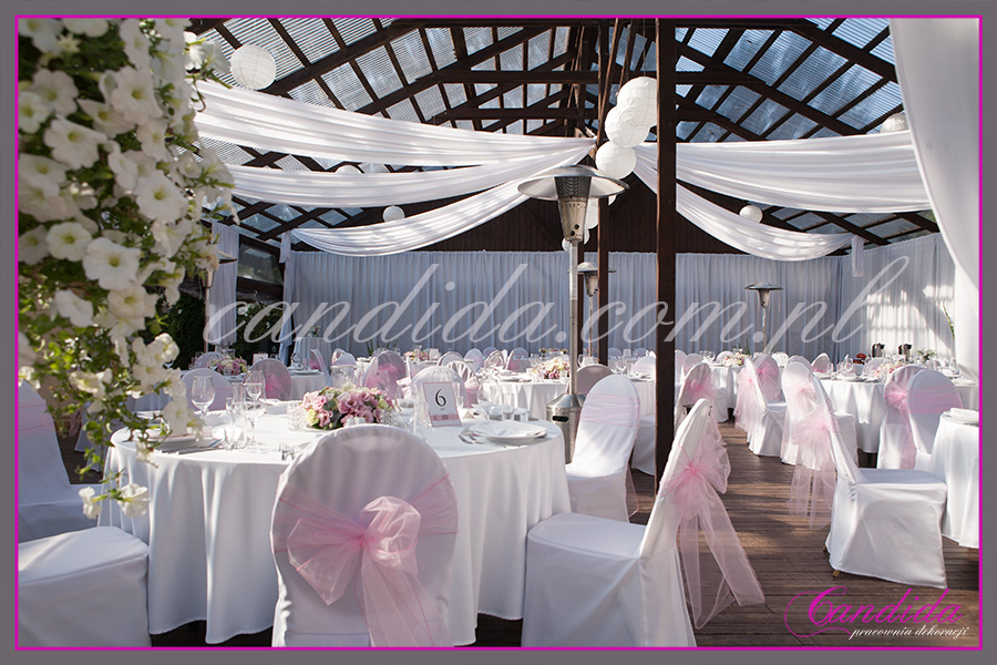 wesele w Boathouse, dekoracje sali weselnej