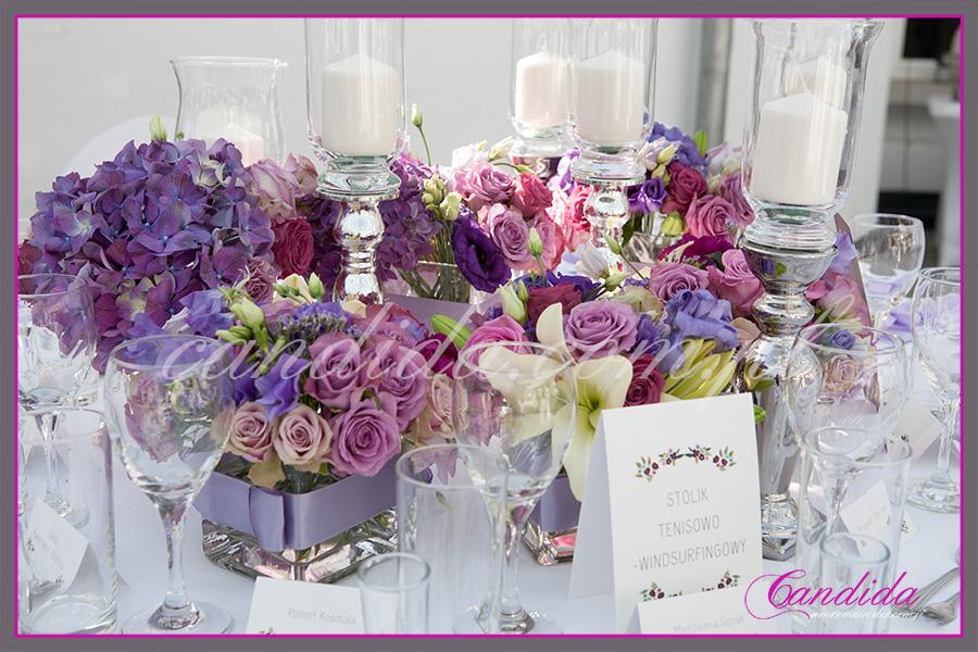 przyjęcie weselne w Centrum Sztuki FORT Sokolnickiego, dekoracje weselne, dekoracja stołu Młodej Pary