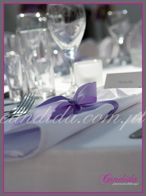 dekoracja serwetki, stoły weselne, FORT Sokolnickiego, Candida pracownia dekoracji Grażyna Góska tel. +48504055969 candida@candida.com.pl