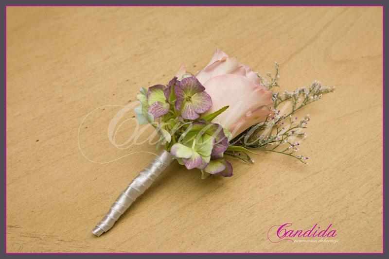 Butonierka dla Pana Młodego wykonana z różowej róży, hortensji,, limonium, butonierki 19