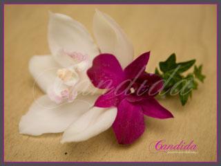 Butonierka dla Pana Młodego wykonana z różowego storczyka dendrobium, białego storczyka cymbidium, hedery, butonierki 22