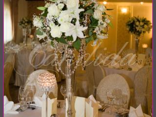 dekoracja stołów, kandelabry z kryształami