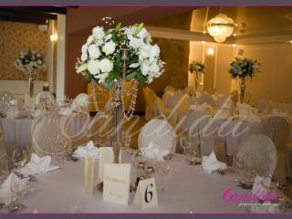 kandelabry z 5 świecami, lilie róże avalanche