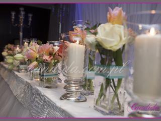 dekoracja sali weselnej zaprezentowana przez pracownię dekoracji Candida na targach