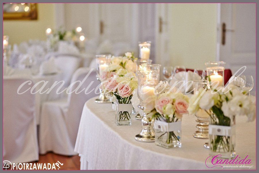 Dwór Radzin plenerowy ślub i wesele, wesele w Dworze Radzin, dekoracja sali weselnej , dekoracja stołu Młodej Pary