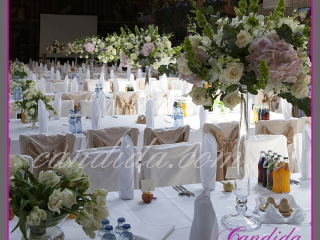 dekoracja sali weselnej w hotelu Boss,dekoracja kwiatowa, kompozycje kwiatowe z hortensji, storczyków, róż, eustomy, lilii, tulipanów 4
