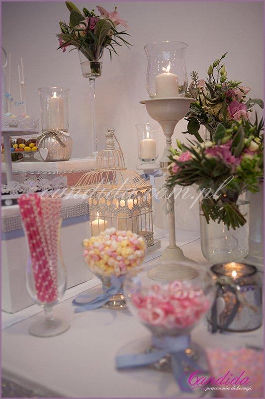 hotel Brant dekoracje weselne, candy bar, kompozycje kwiatowe, świeczniki