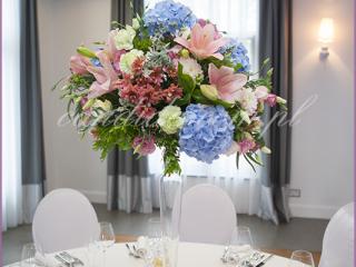 dekoracja stołu weselnego w hotelu Brant, kompozycje weselne , dekoracje weselne