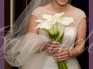 Wiązanka ślubna wykonana z białej cantedeskii, bukiet ślubny, wiązanki ślubne, bukiety ślubne