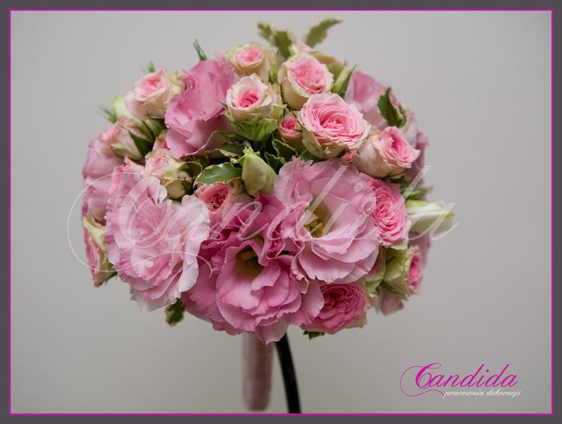 Wiązanka ślubna z różowej eustomy,róż gałązkowych, bukiet ślubny z różowych róż gałązkowych i eustomy