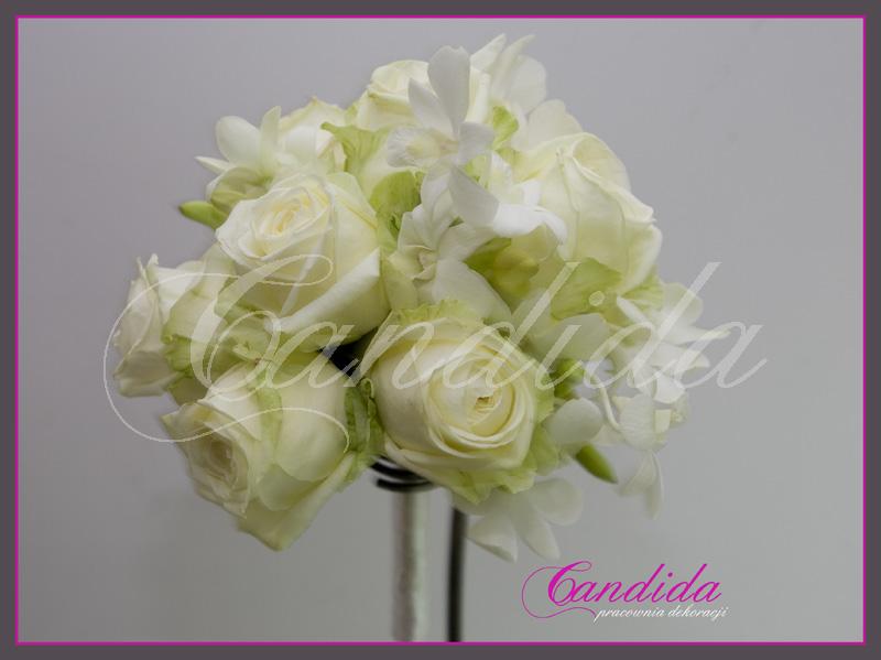 Wiązanka ślubna z róż avalanche, storczyka dendrobium