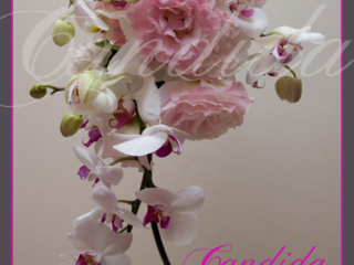 Wiązanka ślubna z różowej eustomy, storczyka phalenopsis