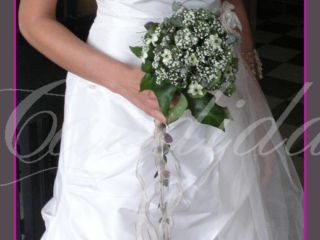 Wiązanka ślubna z ornitogalum, gipsówki, hedery, bukiet ślubny