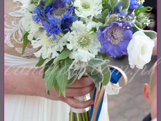 wiązanka ślubna z chabrów, piwonii, scabiozy, mięty, tanacetum, wiązanki ślubne, bukiety ślubne