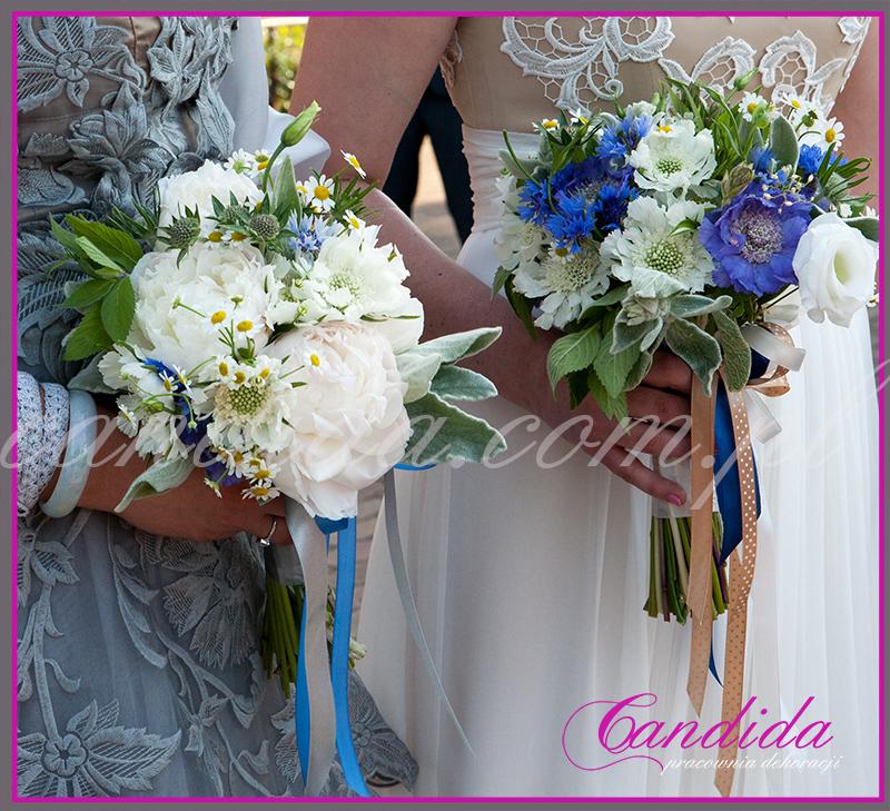 wiązanka ślubna z chabrów, piwonii, scabiozy, mięty, tanacetum, bukiet ślubny, wiązanki ślubne, bukiety ślubne